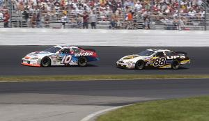 Scott Riggs and Dale Jarrett in action during the Siemens 300 at New Hamsphire