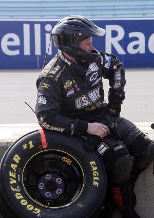 One of Joe Nemechek`s crew members on pit wall at Watkins Glen.