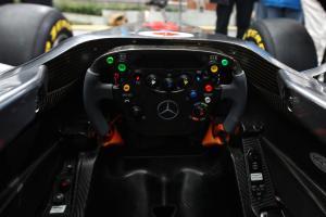 Steering wheel detail - Vodafone McLaren Mercedes MP4-26 Launch
