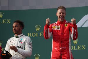 Vettel meraih kemenangan GP Australia setelah melompati Hamilton