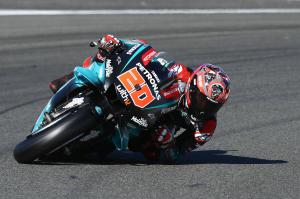 Quartararo fastest, falls, talks carbon swingarm debut