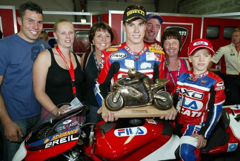 Toseland Celebrates World Championship With Family, Magny Cours WSBK,2004