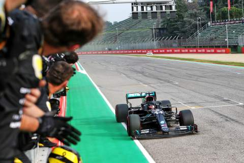 Race winner Lewis Hamilton (GBR) Mercedes AMG F1 W11 at the end of the race.