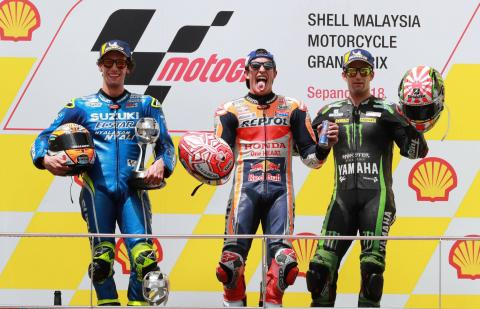 Marquez eases to Sepang win following Rossi fall