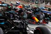 Lewis Hamilton (GBR) Mercedes AMG F1 W12; Max Verstappen (NLD) Red Bull Racing RB16B; and Valtteri Bottas (FIN) Mercedes AMG F1 W12 in qualifying parc ferme.
