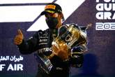 Race winner Lewis Hamilton (GBR) Mercedes AMG F1 celebrates on the podium.