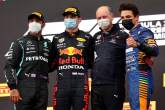 The podium (L to R): Lewis Hamilton (GBR) Mercedes AMG F1, second; Max Verstappen (NLD) Red Bull Racing, race winner; Karl Sengstbratl, Red Bull Racing Finance & Operations Director; Lando Norris (GBR) McLaren, third