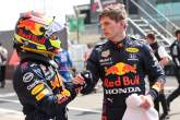 Sergio Perez (MEX) Red Bull Racing RB16B and Max Verstappen (NLD) Red Bull Racing RB16B.