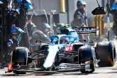 Esteban Ocon (FRA) Alpine F1 Team A521 makes a pit stop.