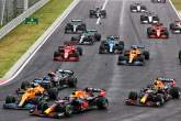 Lando Norris (GBR) McLaren MCL35M crashes into Max Verstappen (NLD) Red Bull Racing RB16B after being hit by Valtteri Bottas (FIN) Mercedes AMG F1 W12 at the start of the race.