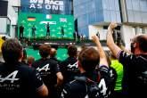 The podium (L to R): Sebastian Vettel (GER) Aston Martin F1 Team, second; Esteban Ocon (FRA) Alpine F1 Team, race winner; Lewis Hamilton (GBR) Mercedes AMG F1, third.