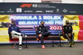 (L to R): George Russell (GBR) Williams Racing; Max Verstappen (NLD) Red Bull Racing; and Lewis Hamilton (GBR) Mercedes AMG F1 in the post race FIA Press Conference.