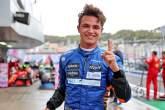 Lando Norris (GBR) McLaren celebrates his pole position in qualifying parc ferme.
