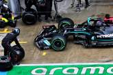 Lewis Hamilton (GBR) Mercedes AMG F1 W12 in the pits with a broken front wing.