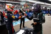 Race winner Lewis Hamilton (GBR) Mercedes AMG F1 (Right) celebrates in parc ferme with second placed Max Verstappen (NLD) Red Bull Racing.