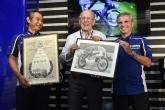 Phil Read presents Yamaha with first title certificate