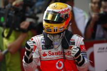Lewis Hamilton (GBR) McLaren MP4-23 Gets Pole Position, Chinese F1 Grand Prix, Shanghai, 17th-19th O