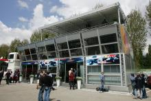 The Red Bull Racing `Energy Centre` motorhome at the San Marino Grand Prix