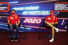 (L to R): Charles Leclerc (MON) Ferrari and team mate Sebastian Vettel (GER) Ferrari in the FIA Press Conference.