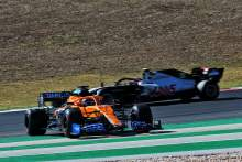 Lando Norris (GBR) McLaren MCL35 spins in the second practice session.