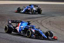 Fernando Alonso (ESP) Alpine F1 Team A521 leads team mate Esteban Ocon (FRA) Alpine F1 Team A521.