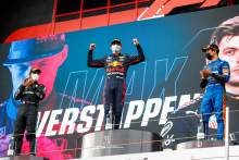 The podium (L to R): Lewis Hamilton (GBR) Mercedes AMG F1, second; Max Verstappen (NLD) Red Bull Racing, race winner; Lando Norris (GBR) McLaren, third.