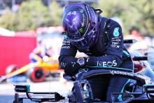 Pole sitter Lewis Hamilton (GBR) Mercedes AMG F1 W12 in qualifying parc ferme.