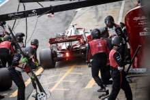 Antonio Giovinazzi (ITA) Alfa Romeo Racing C41 makes a pit stop.