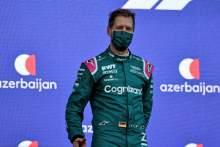 Sebastian Vettel (GER) Aston Martin F1 Team celebrates his second position on the podium.