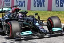 Lewis Hamilton (GBR) Mercedes AMG F1 W12 in qualifying parc ferme.