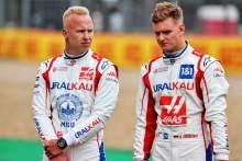(L to R): Nikita Mazepin (RUS) Haas F1 Team and team mate Mick Schumacher (GER) Haas F1 Team - 2022 Car Launch.