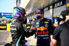 (L to R): Lewis Hamilton (GBR) Mercedes AMG F1 celebrates being fastest in qualifying in parc ferme with Max Verstappen (NLD) Red Bull Racing.
