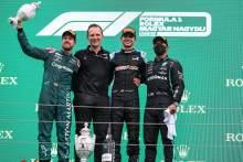 The podium (L to R): Sebastian Vettel (GER) Aston Martin F1 Team, second; Laurent Rossi (FRA) Alpine Chief Executive Officer; Esteban Ocon (FRA) Alpine F1 Team, race winner; Lewis Hamilton (GBR) Mercedes AMG F1, third.