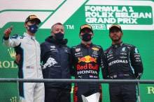 1st place Max Verstappen (NLD) Red Bull Racing RB16B, 2nd place George Russell (GBR) Williams Racing FW43B and 3rd place Lewis Hamilton (GBR) Mercedes AMG F1 W12.