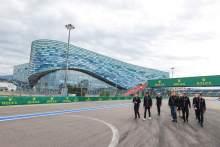 Esteban Ocon (FRA) Alpine F1 Team and Daniil Kvyat (RUS) Alpine F1 Team Reserve Driver walk the circuit with the team.