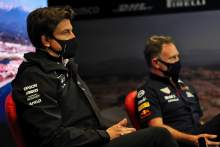 (L to R): Toto Wolff (GER) Mercedes AMG F1 Shareholder and Executive Director and Christian Horner (GBR) Red Bull Racing Team Principal in the FIA Press Conference.