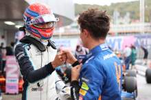 George Russell (GBR) Williams Racing FW43B and Lando Norris (GBR) McLaren MCL35M.