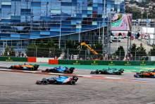 Fernando Alonso (ESP) Alpine F1 Team A521 runs wide at the start of the race.