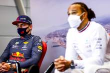 (L to R): Max Verstappen (NLD) Red Bull Racing and Lewis Hamilton (GBR) Mercedes AMG F1 in the post race FIA Press Conference.