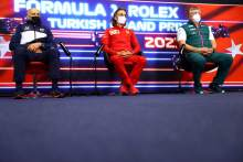 (L to R): Franz Tost (AUT) AlphaTauri Team Principal; Laurent Mekies (FRA) Ferrari Sporting Director; and Otmar Szafnauer (USA) Aston Martin F1 Team Principal and CEO, in the FIA Press Conference.