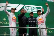 The podium (L to R): Max Verstappen (NLD) Red Bull Racing, second; Valtteri Bottas (FIN) Mercedes AMG F1, race winner; Sergio Perez (MEX) Red Bull Racing, third.