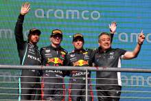 The podium (L to R): Lewis Hamilton (GBR) Mercedes AMG F1, second;Max Verstappen (NLD) Red Bull Racing, race winner; Sergio Perez (MEX) Red Bull Racing, third; Masashi Yamamoto (JPN) Honda Racing F1 Managing Director.