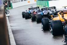 Nicholas Latifi (CDN) Williams Racing FW43B and George Russell (GBR) Williams Racing FW43B at the pit lane exit.