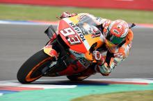 Marquez ups the pace as Dovizioso scrapes into Q2 after crash