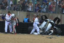 McNish escapes horror Le Mans shunt