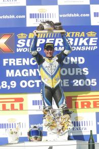 Corser With World Championship Trophy, Magny Cours WSBK Race 1, 2005