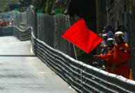 The red flag was waved mistakenly after the Sato and Fisichella incident, it was a full course yello