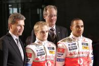 Heikki Kovalainen (FIN), Lewis Hamilton (GBR), McLaren MP4-23 Launch, Stuttgart, 7th January, 2008