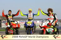 World champions Di Meglio, Rossi and Simoncelli, Valencia MotoGP Race 2008