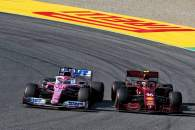 Sergio Perez (MEX) Racing Point F1 Team RP19 and Charles Leclerc (MON) Ferrari SF1000 battle for position.